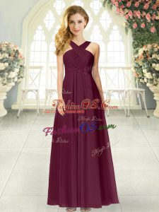 Burgundy Sleeveless Chiffon Zipper Prom Evening Gown for Prom and Party