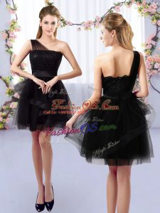 Custom Design Black A-line One Shoulder Sleeveless Tulle Mini Length Side Zipper Lace Court Dresses for Sweet 16