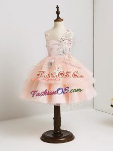 Artistic Mini Length Pink Flower Girl Dresses for Less Tulle Sleeveless Appliques