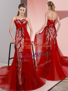 Hot Selling Red Prom Evening Gown Spaghetti Straps Sleeveless Sweep Train Lace Up