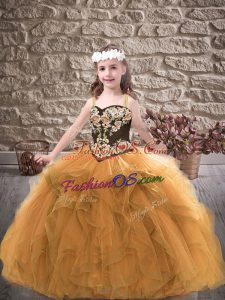 Gold Little Girls Pageant Dress Party and Wedding Party with Embroidery and Ruffles Straps Sleeveless Lace Up
