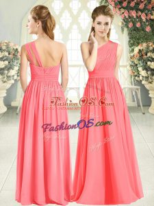 Sleeveless Chiffon Floor Length Zipper Prom Gown in Watermelon Red with Ruching