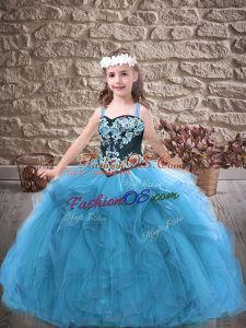 Baby Blue Ball Gowns Tulle Straps Sleeveless Embroidery and Ruffles Floor Length Lace Up Little Girls Pageant Gowns