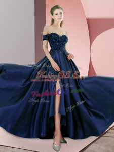 Flirting Navy Blue Backless Homecoming Dress Beading Sleeveless Sweep Train
