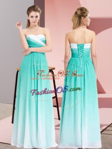 Latest Empire Prom Dress Turquoise Sweetheart Chiffon Sleeveless Floor Length Lace Up