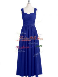 Royal Blue Sleeveless Ruching Floor Length Prom Gown