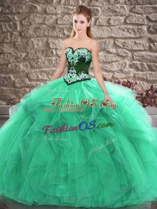 Sweetheart Sleeveless Tulle Quinceanera Gown Beading and Embroidery Lace Up