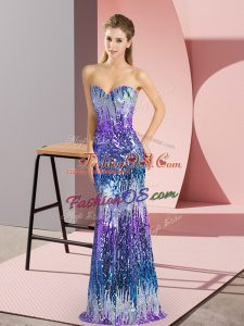 Amazing Multi-color Column/Sheath Sweetheart Sleeveless Sequins Floor Length Lace Up Prom Party Dress
