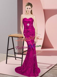 Sleeveless Sequined Sweep Train Lace Up Homecoming Dress in Fuchsia with Belt