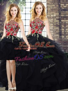 Hot Sale Tulle Bateau Sleeveless Lace Up Beading and Embroidery Sweet 16 Dresses in Black