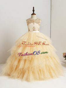 Tulle Scoop Sleeveless Zipper Beading and Ruffles Kids Formal Wear in Gold