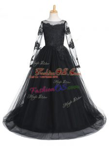 Attractive Scoop Long Sleeves Tulle Little Girl Pageant Gowns Lace Brush Train Clasp Handle