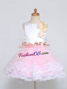 Pink And White Tulle Zipper Flower Girl Dresses for Less Sleeveless Mini Length Lace and Appliques