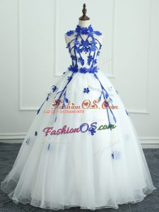 Custom Made White Organza Zipper 15 Quinceanera Dress Sleeveless Floor Length Appliques