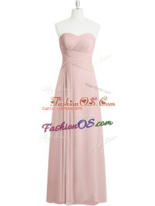 Smart Baby Pink Zipper Prom Dresses Ruching Sleeveless Floor Length