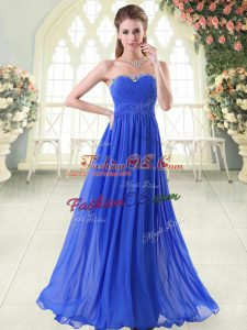 High End Sleeveless Chiffon Floor Length Zipper Homecoming Dress in Royal Blue with Beading
