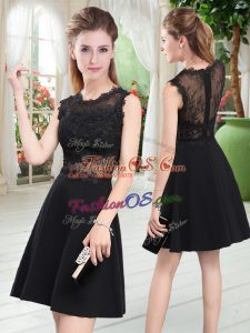 Custom Designed Satin Scalloped Sleeveless Zipper Lace Homecoming Dress in Black