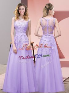 Sumptuous Lavender Zipper Prom Party Dress Lace Sleeveless Floor Length