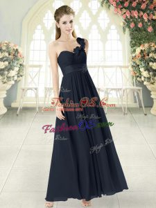 Perfect Black Prom Dresses Prom and Party with Hand Made Flower One Shoulder Sleeveless Zipper