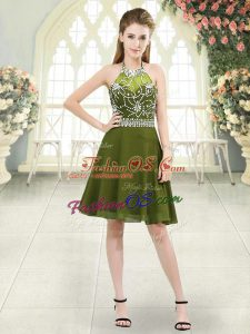 Olive Green Homecoming Dress Prom and Party and Military Ball with Beading Halter Top Sleeveless Zipper