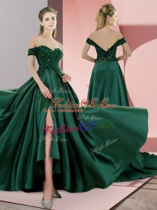 Sumptuous Green A-line Satin Spaghetti Straps Sleeveless Beading Lace Up Prom Gown Sweep Train