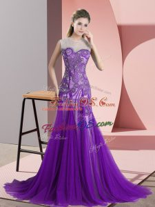 Purple A-line Tulle Scoop Sleeveless Appliques Backless Dress for Prom Sweep Train