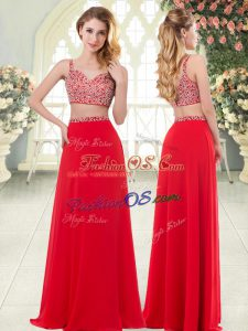 Sexy Floor Length Two Pieces Sleeveless Red Prom Party Dress Zipper
