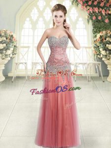 Watermelon Red Sleeveless Floor Length Beading Zipper Womens Party Dresses