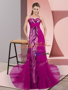 Comfortable Spaghetti Straps Sleeveless Homecoming Dress Sweep Train Beading and Lace Fuchsia Chiffon