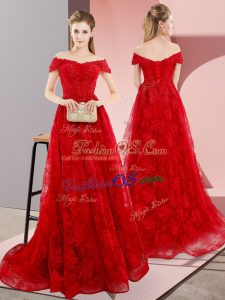 Dynamic Red Sleeveless Sweep Train Beading and Lace Evening Dress