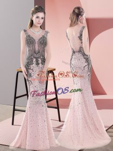 Comfortable Beading and Lace Dress for Prom Pink Side Zipper Sleeveless Sweep Train