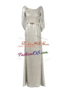 Floor Length Grey Prom Dresses Half Sleeves Belt