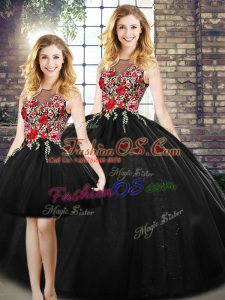 Elegant Tulle Sleeveless Floor Length Sweet 16 Dress and Embroidery