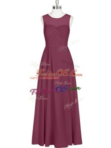 Spectacular Sleeveless Floor Length Ruching Zipper Dress for Prom with Burgundy