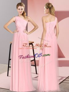 Best Selling Pink Lace Up One Shoulder Ruching Dress for Prom Chiffon Sleeveless