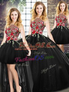 Sleeveless Floor Length Sweet 16 Dress and Embroidery