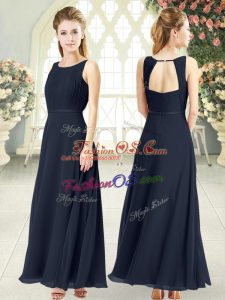 Sumptuous Black Sleeveless Ruching Ankle Length Evening Dress