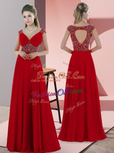 Red Empire Sweetheart Sleeveless Satin Sweep Train Lace Up Beading Prom Dresses