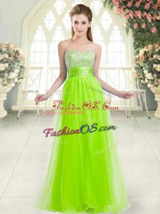 Dramatic A-line Prom Party Dress Sweetheart Tulle Sleeveless Floor Length Lace Up