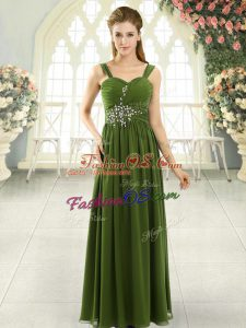 Chiffon Spaghetti Straps Sleeveless Lace Up Beading and Ruching Prom Dress in Olive Green