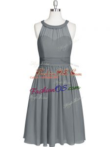 Discount Grey Homecoming Dress Prom and Party and Military Ball with Ruching Halter Top Sleeveless Zipper