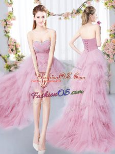 A-line Wedding Guest Dresses Pink Sweetheart Tulle Sleeveless High Low Lace Up