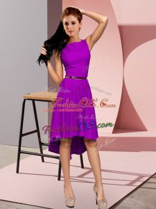 Scoop Sleeveless Lace Up Belt Homecoming Dress in Purple