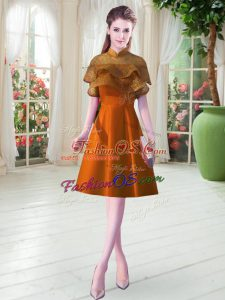 Orange A-line Satin High-neck Cap Sleeves Lace Knee Length Lace Up Evening Dress