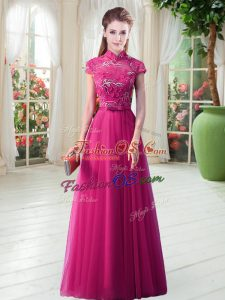 On Sale Hot Pink High-neck Neckline Lace Dress for Prom Short Sleeves Lace Up