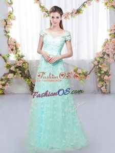 Pretty Floor Length Lace Up Wedding Guest Dresses Apple Green for Prom and Party and Wedding Party with Appliques