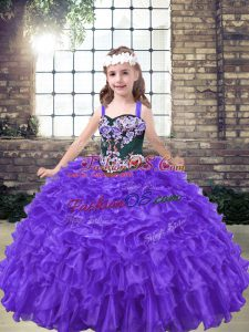 Purple Little Girl Pageant Dress Party and Wedding Party with Embroidery Straps Sleeveless Lace Up
