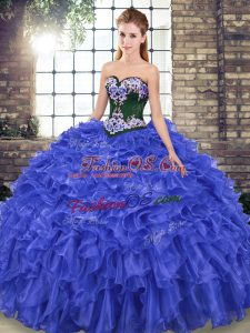Royal Blue Sleeveless Embroidery and Ruffles Lace Up Sweet 16 Dress