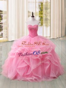 Pink Sweetheart Lace Up Beading and Ruffles 15th Birthday Dress Sweep Train Sleeveless