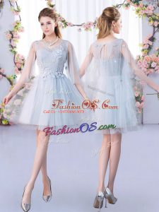 Sophisticated A-line Quinceanera Court Dresses Grey Scoop Tulle 3 4 Length Sleeve Mini Length Lace Up